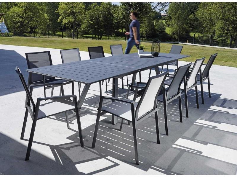 Salon de jardin design gris 8 fauteuils malouine - Vente de ...