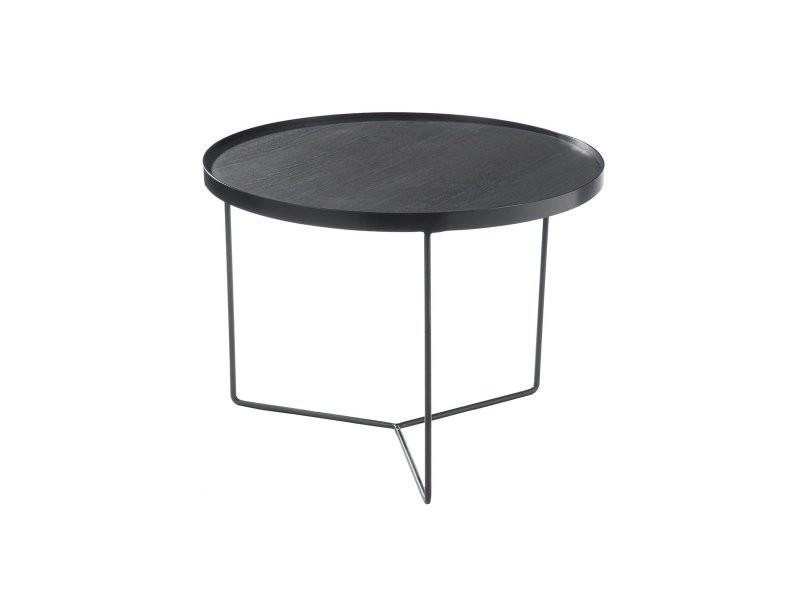 Table basse ronde en bois et métal fafa 80424