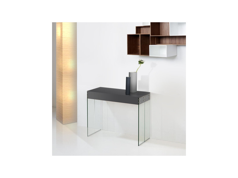 Console extensible new york laqué gris anthracite