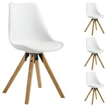 Lot de 4 chaises de salle à manger tyson style scandinave design nordique piètement bois massif, siège baquet plastique blanc