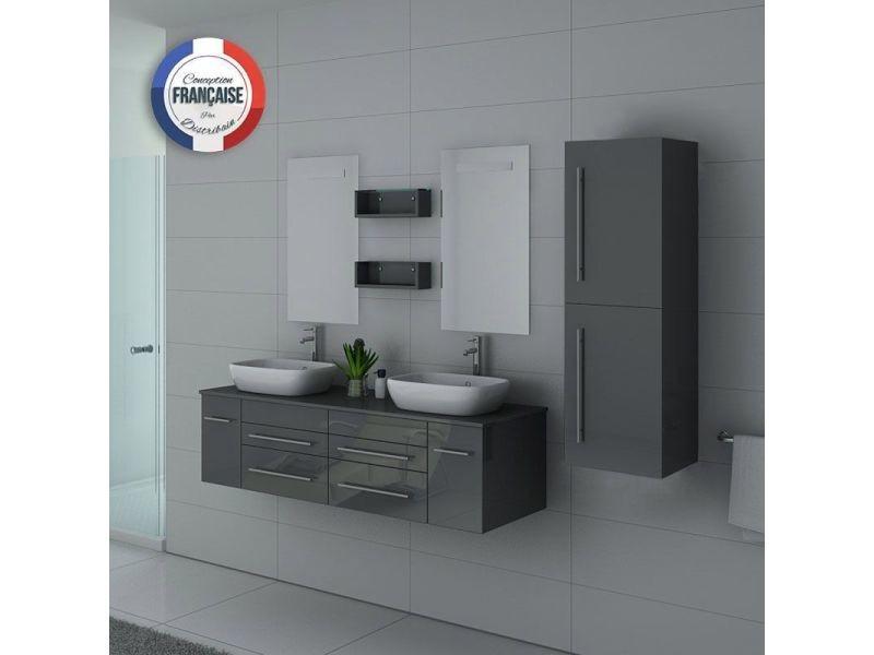 Meuble de salle de bain double vasque dis748 gris taupe - Meuble vasque salle de bain conforama ...