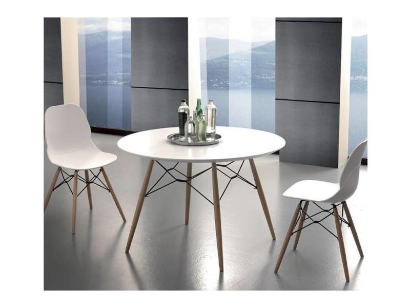 Table de repas schell 100cm mélaminé blanc satiné pied bois 20100869561