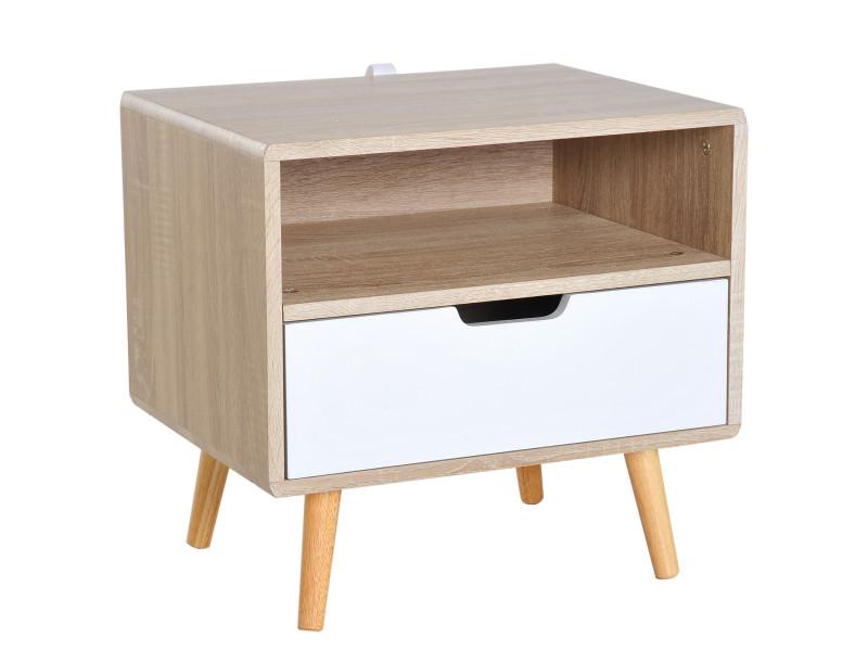 Chevet Table De Nuit Design Scandinave Tiroir Niche