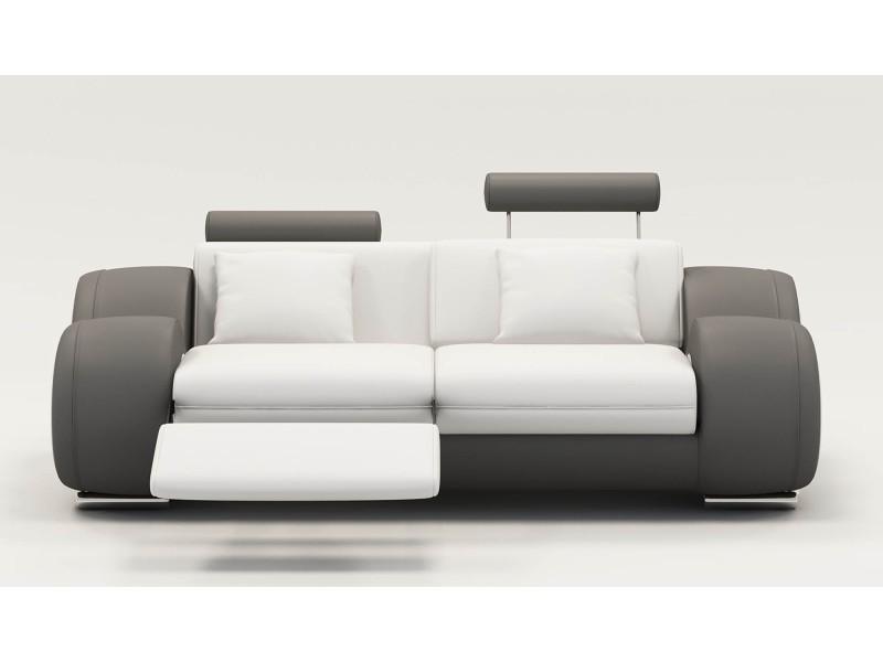 Canapé 2 places design relax oslo en cuir blanc et gris-