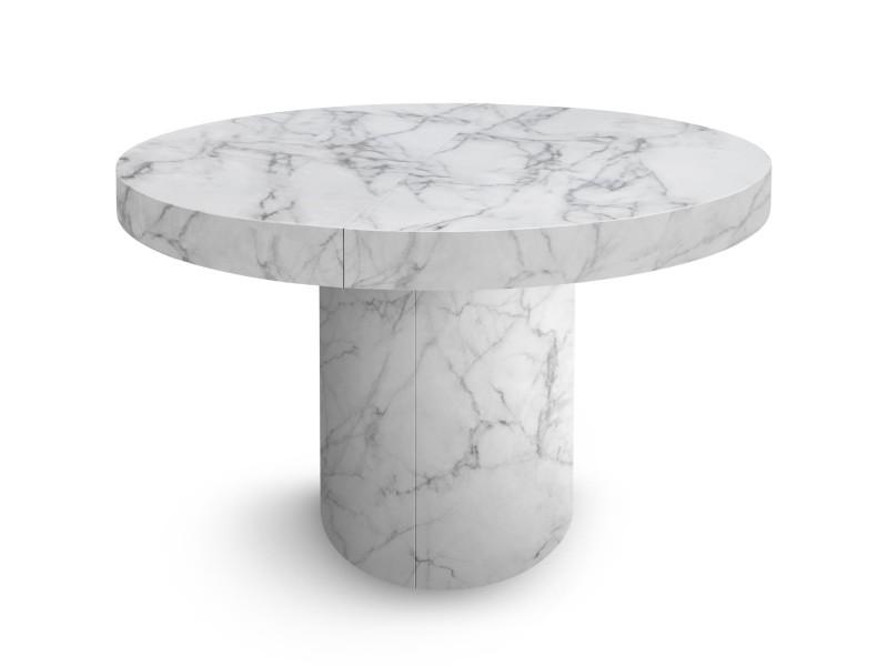 Table Ronde Pied Central Conforama.Table Ronde Extensible Suzie Effet Marbre Vente De