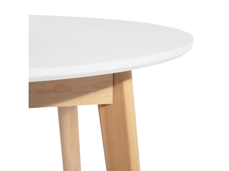 Table à manger ronde scandinave blanche bois - Vente de ...