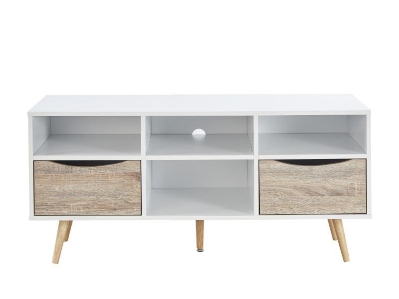 Bela meuble tv scandinave blanc et décor chene mat + pieds en bois hévéa - l 116 cm