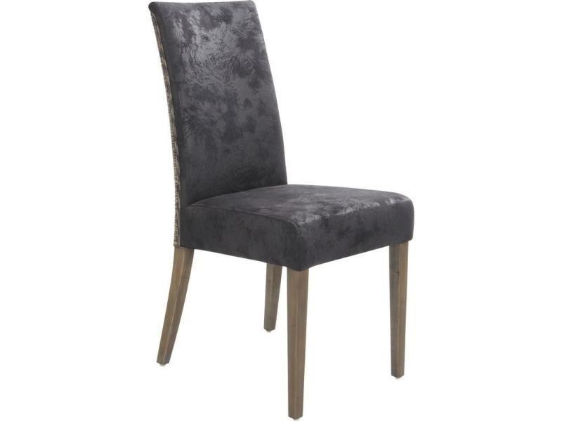 Chaise en rotin foncé 3 nuances et teck tinté gris, 44 x 61 x 96 cm -pegane-