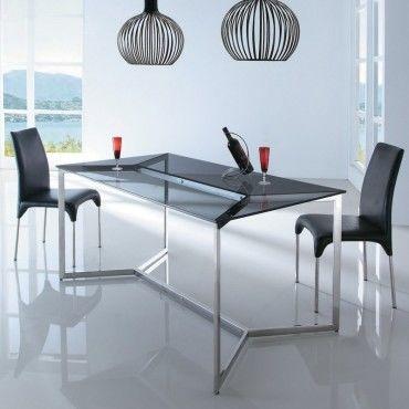 Table manger en verre design bruce vente de table - Conforama table de salle a manger en verre ...