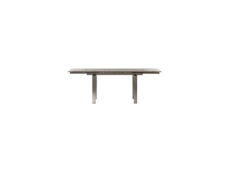 Table à rallonges verre et chrome empire 140-220 cm