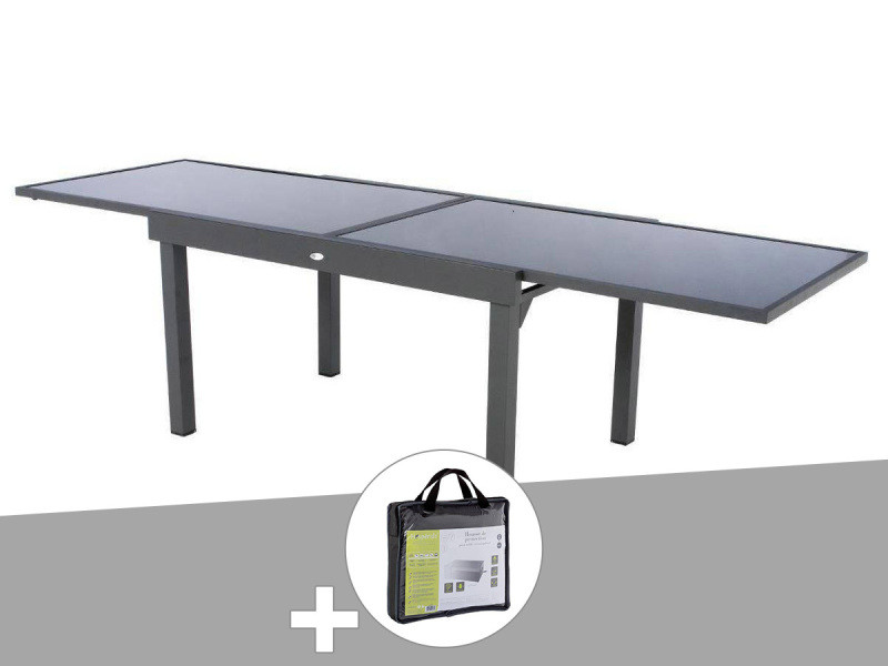 Table extensible rectangulaire en verre piazza 6/10 places ...