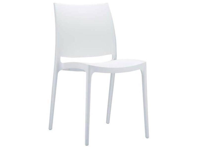 Chaise de jardin empilable en plastique blanc, dim : h81 x p50 x l44 cm -pegane-