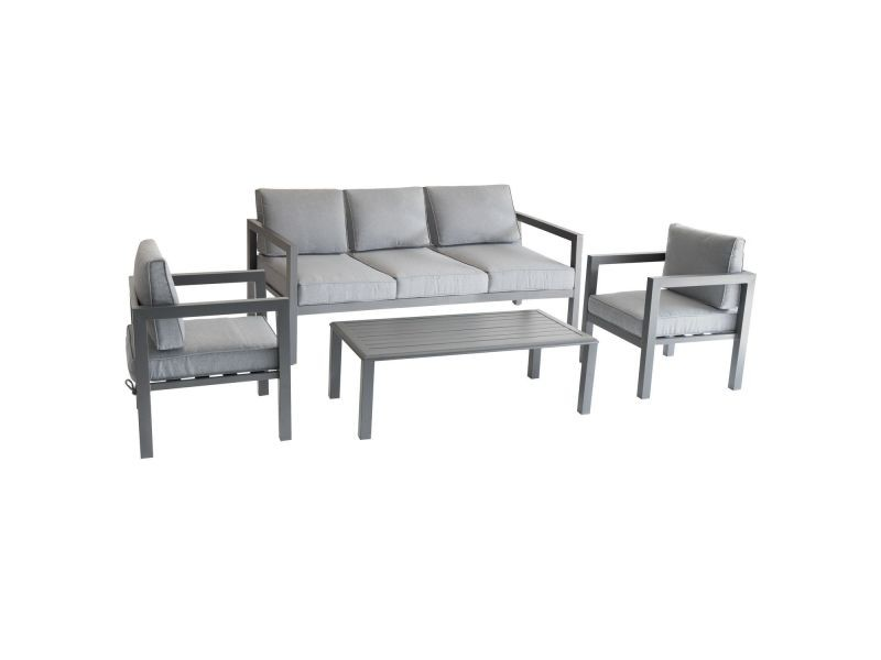 Salon de jardin azua - 5 places - gris graphite - Vente de Salon de ...