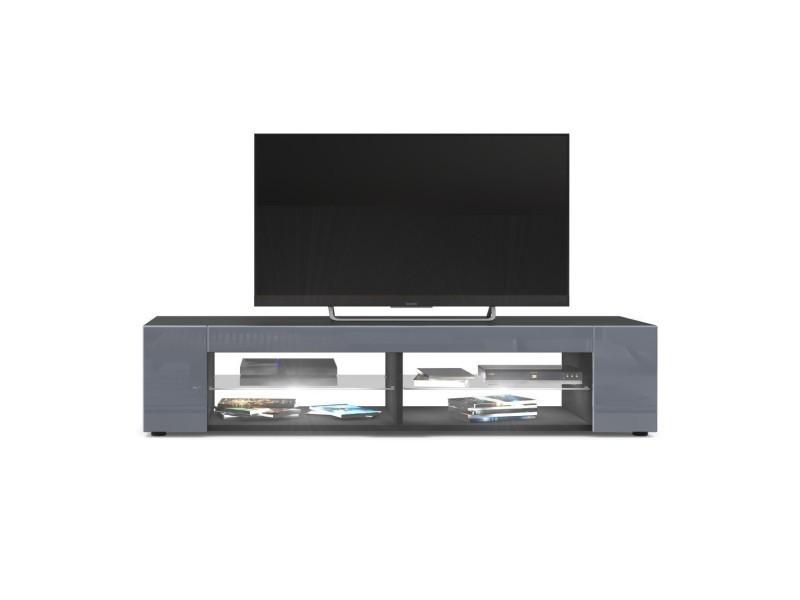 Meuble tv noir mat façades en gris laquées led blanc