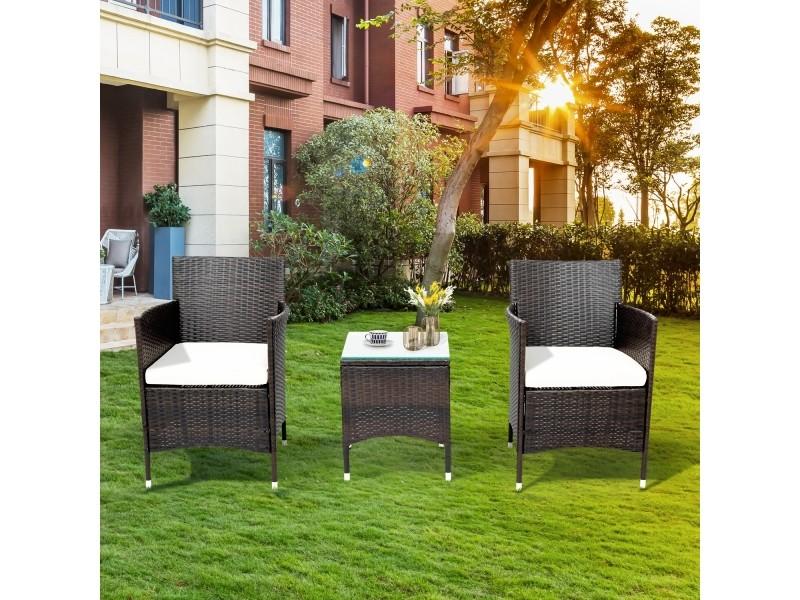 Ensemble d'un table et 2 fauteuils salon de jardin coussin d'assise incl.
