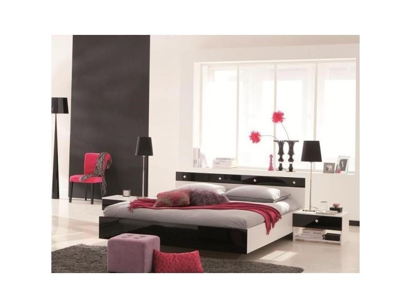 Chambre noir-blanc laqué 140x190 cb103 - Vente de Lit adulte - Conforama