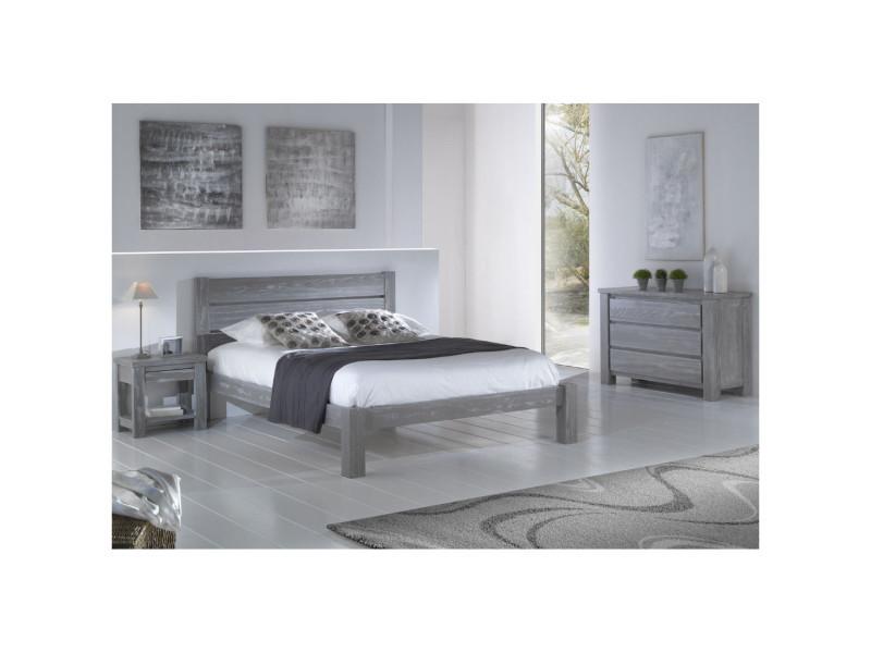 Chambre complète (180*200) bois massif gris - gabriel - l 193 x l ...
