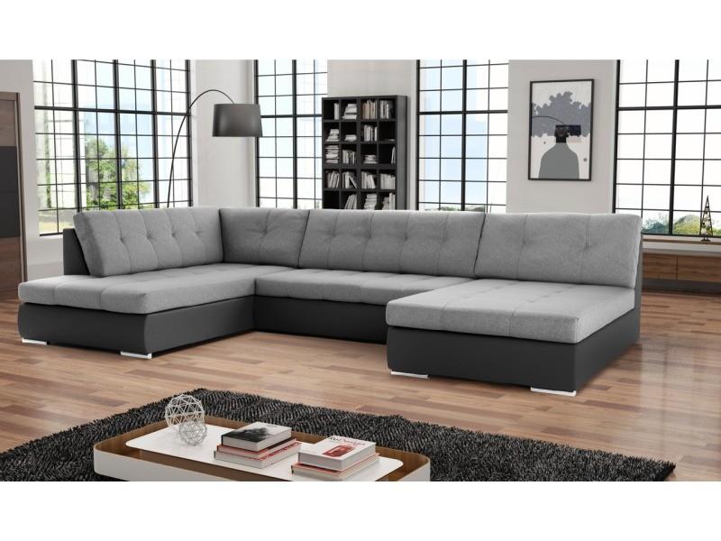 Canapé d'angle convertible panoramique paola. Tissu et simili cuir, gris et noir