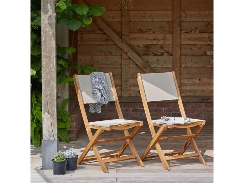chaises textilène et pliantes fsc d'acacia bois de 2 Lot en b7IgmYf6yv
