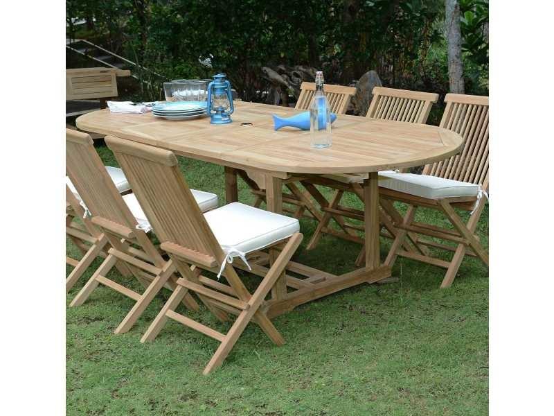 Table de jardin en teck extensible 100 x 240 cm - vérone Teck massif ...