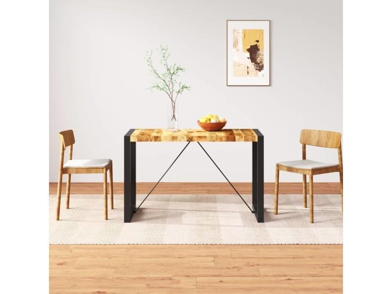 Vidaxl table de salle à manger bois de manguier massif 120 cm 243996