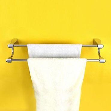 Porte-serviettes à 2 barres en laiton chromé