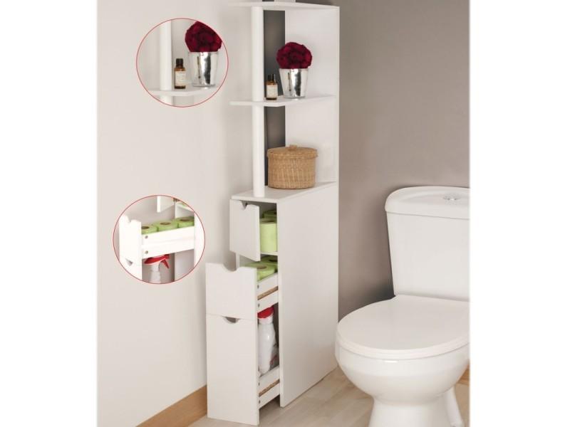 Meuble Wc Etagere Bois 3 Portes Blanc Gain De Place Pour Toilettes