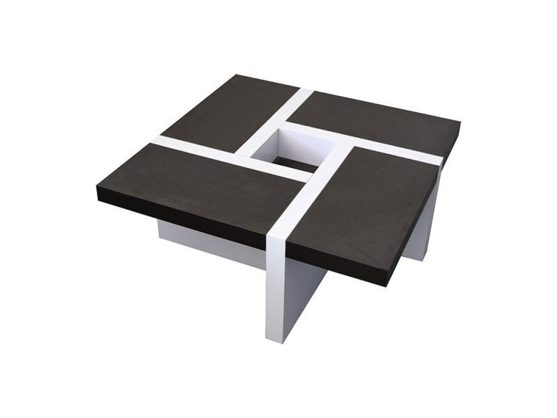 Mobili Rebecca Table Basse Carre Bois Marron Blanc Design Contemporain 35x80x80
