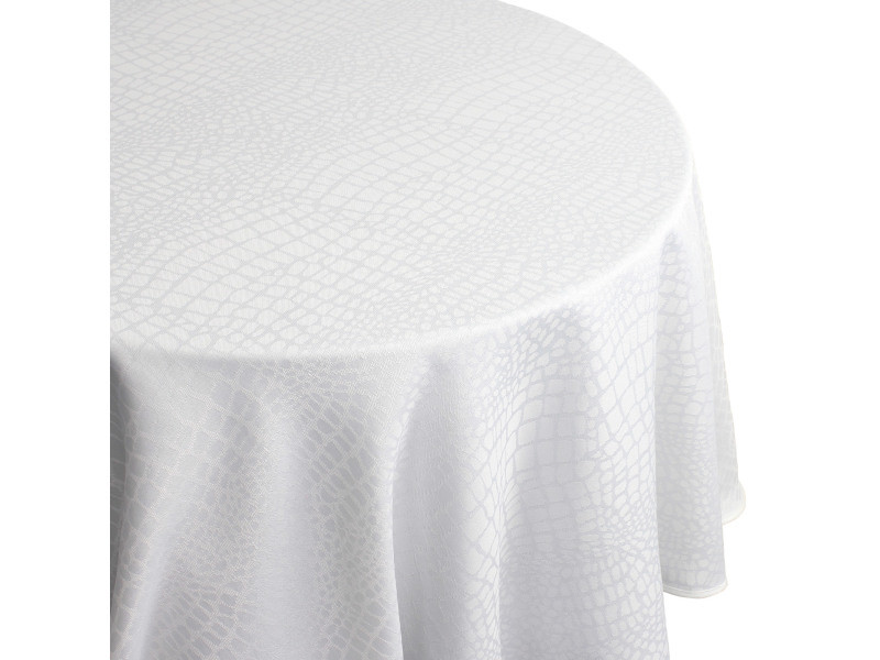Nappe ronde 180 cm jacquard 100% polyester lounge blanc