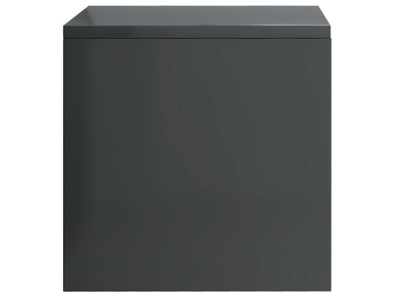 Vidaxl Table De Chevet Gris Brillant 40 X 30 X 30 Cm Agglomere