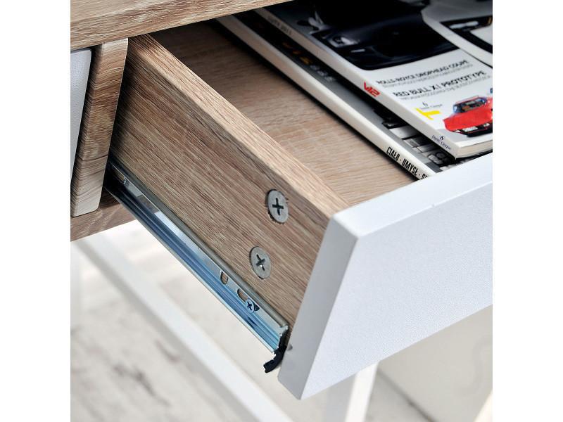 Bureau moderne scandi falun avec tiroirs blanc mat aspect bois