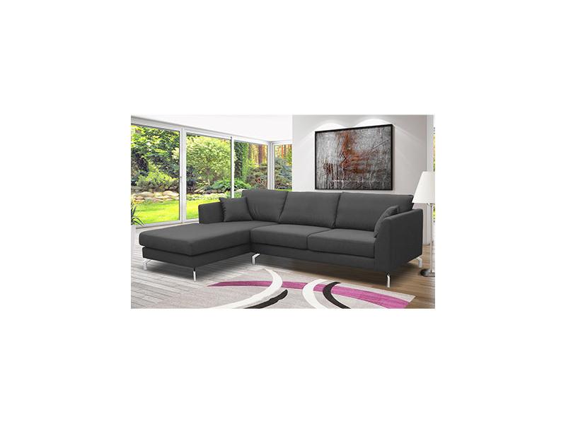 Canapé d'angle à gauche en tissu gris - ines