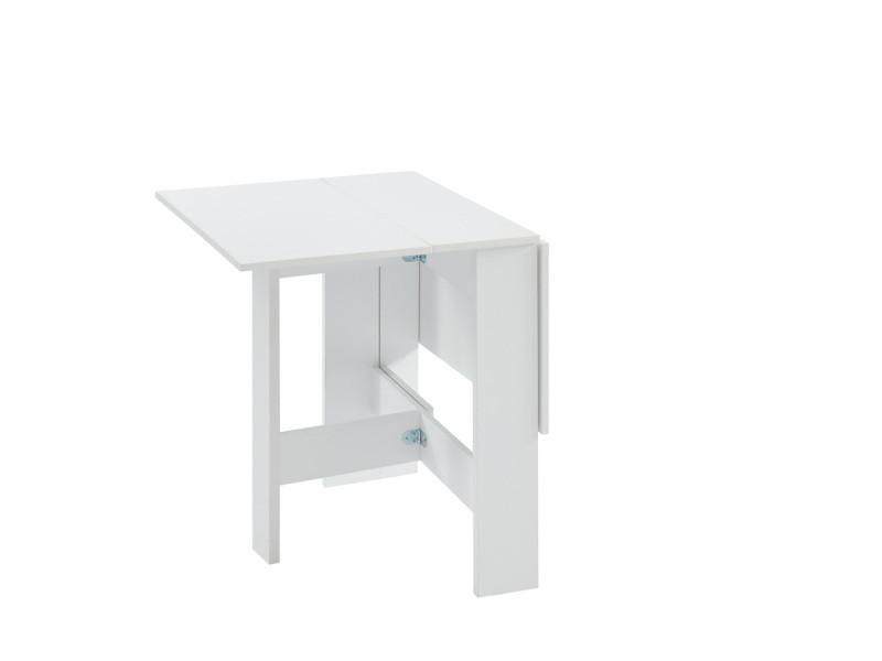 Juno table de séjour pliante 4 personnes - décor blanc - l 104 x 76 x 74 cm