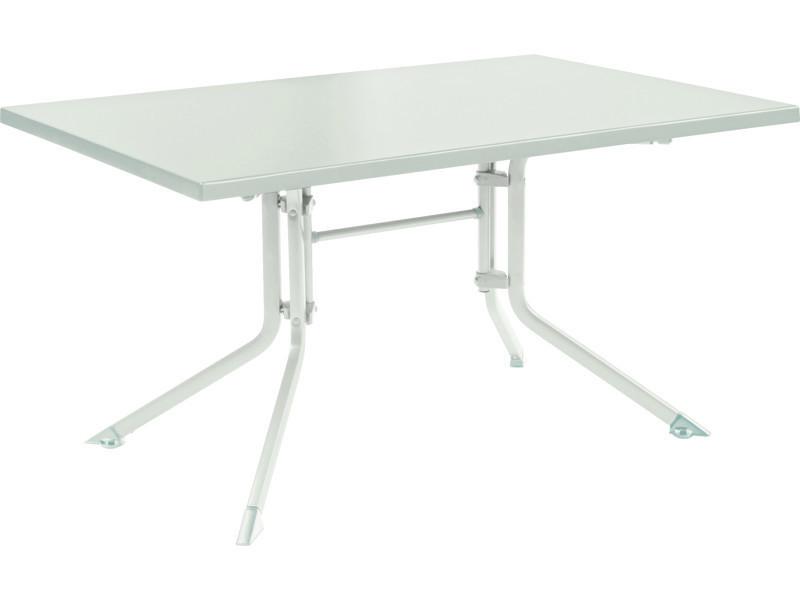 Table de jardin pliante en aluminium coloris blanc/blanc - dim ...