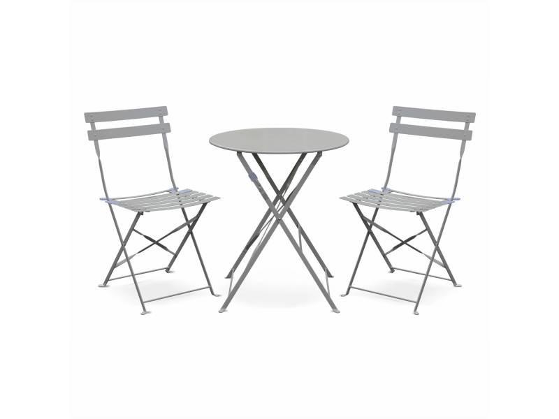 Salon de jardin bistrot pliable emilia rond gris taupe, table 60cm avec ...