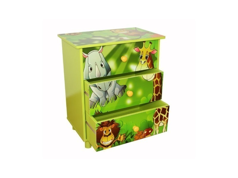 Commode 3 tiroirs chambre enfant motif jungle 48x57x30cm ape06021 ...