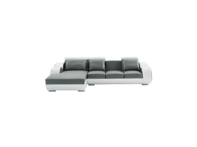 Remy canapé de relaxation d'angle gauche fixe 6 places - simili gris anthracite et blanc - contemporain - l 188 x p 160 cm
