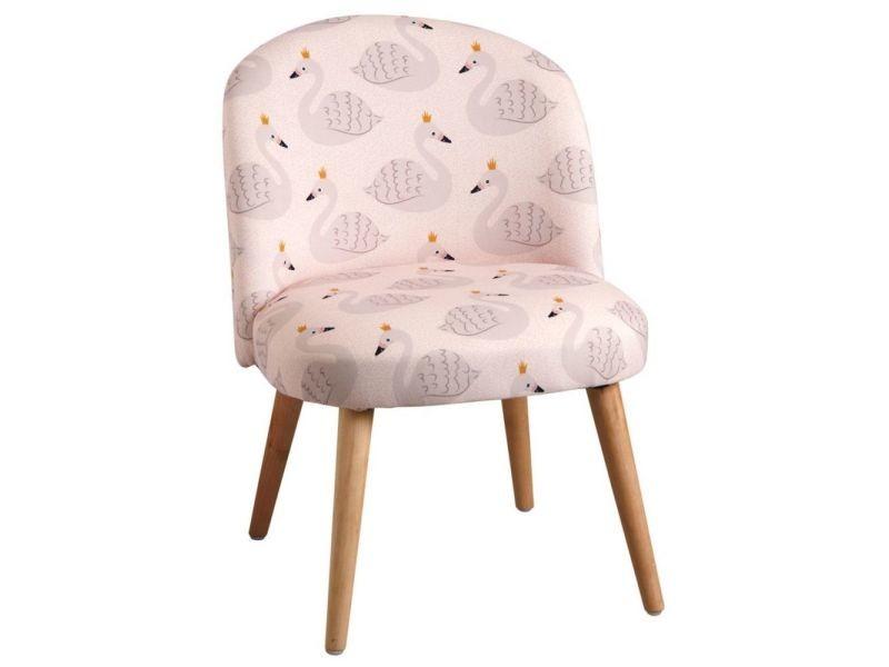 Chaise enfant en coton et bois cygne rose