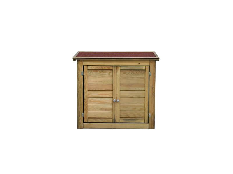 Armoire de rangement de jardin en bois traité 98x45x84cm, lisboa ...