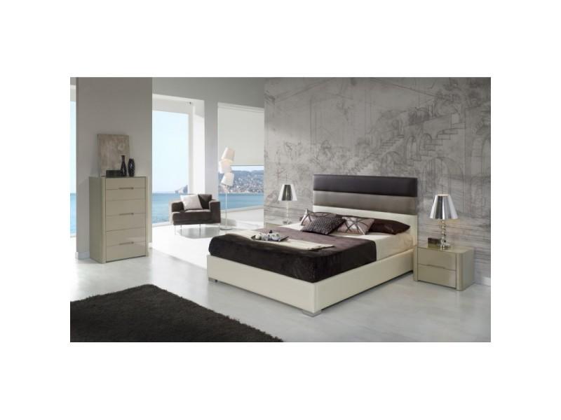 Tête de lit pour lit 160 cm en simili-cuir ivoire, moka et marron chogo - l 172 x h 118 - Vente ...