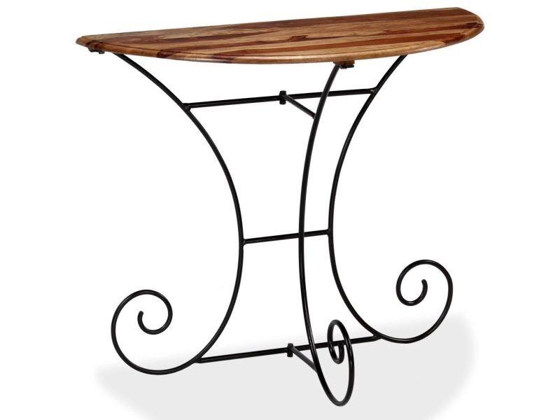 Vidaxl table console bois massif de sesham demi-ronde 90 x 45 x 75 cm 244928