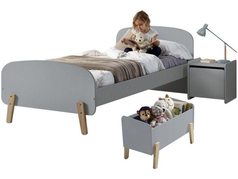 Ensemble chambre enfant design scandinave avec lit 90x200, chevet ...