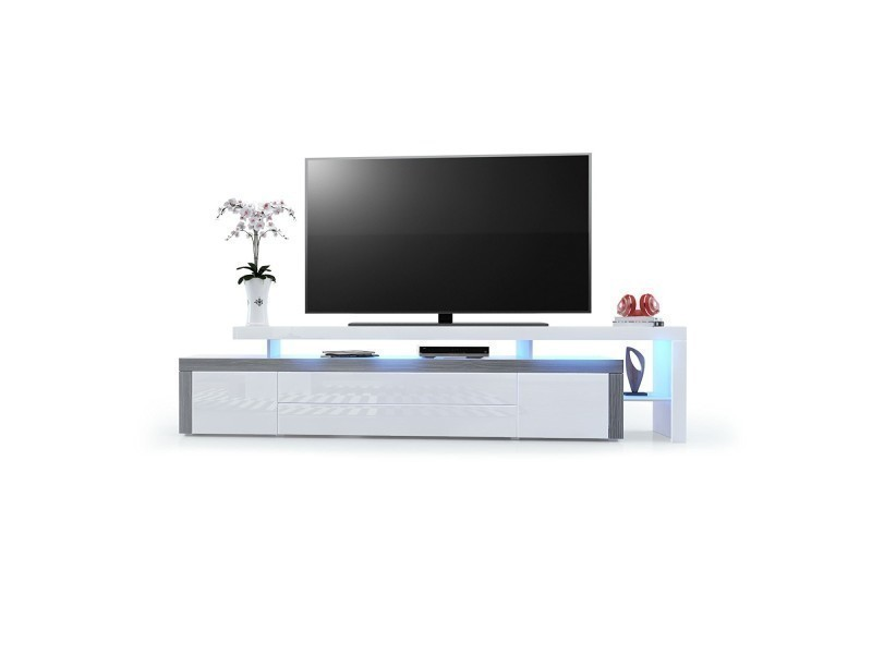 Meuble tv avola-anthracite / blanc laqué 227 cm avec led