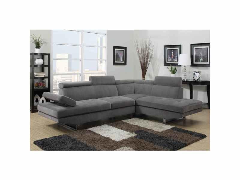 Canapé d'angle design tissu rubic gris (droit)-