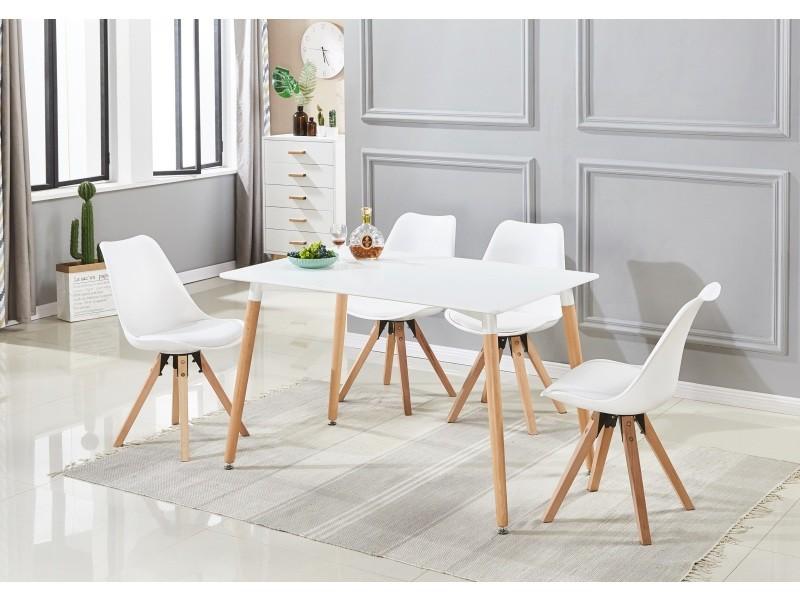 Ensemble table et 4 chaises de salle à manger scandinave - coloris ...