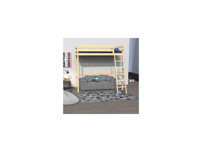lit mezzanine studio 140x190 1 sommier vernis naturel. Black Bedroom Furniture Sets. Home Design Ideas