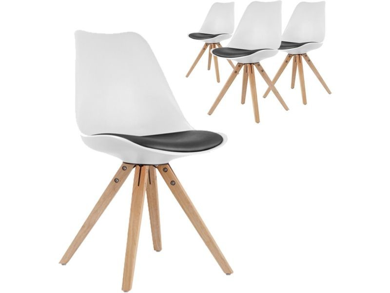 4 Pvc De Design Assise Noir Blanches Chaises Lot En Scandinave Avec XuZPki