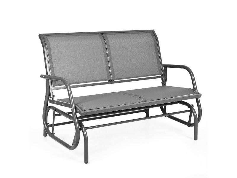 Fauteuil à bascule 2 places pour extérieur en textilène chaise berçante extérieur pour jardin terrasse piscine gris 20_0000638