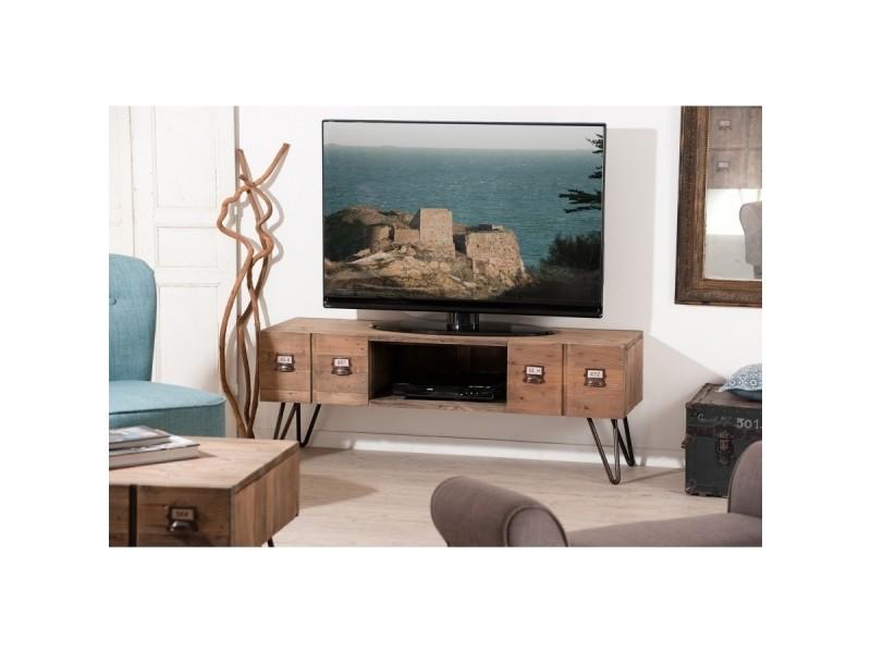 Meuble tv 2 tiroirs en pin et métal - industriel