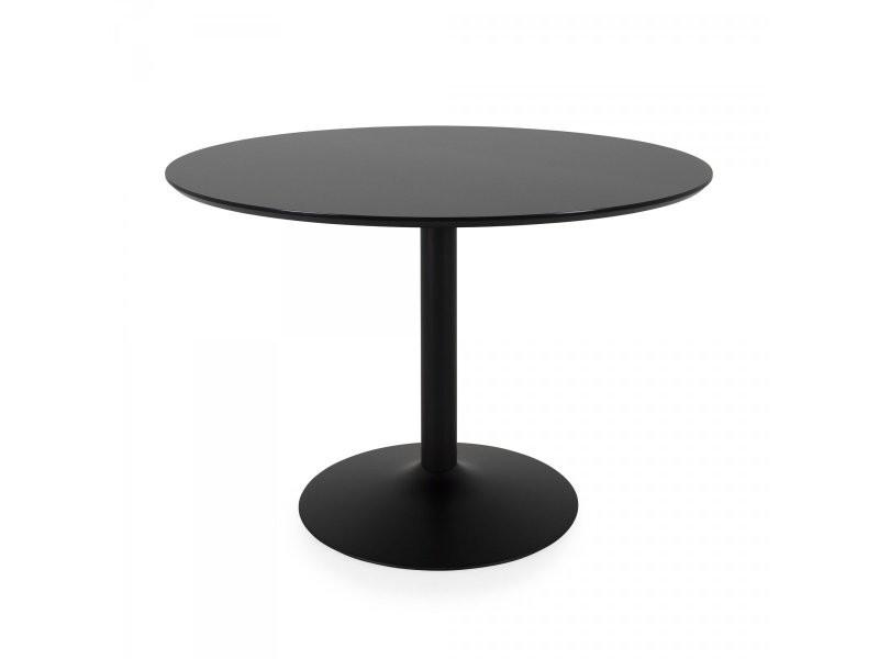 Table à manger ronde 110cm plateau bois pied métal boulbi 9003210909